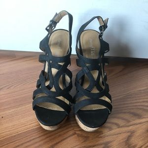 Charming Charlie Black Strappy Wedge